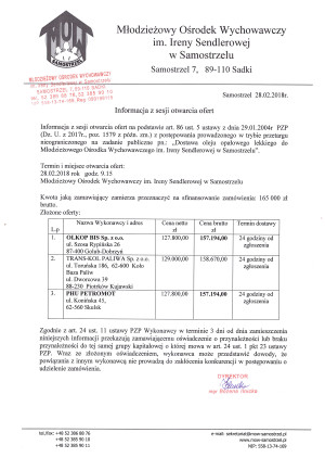 Informacja z sesji otwarcia ofert